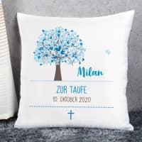 Kissen zur Taufe mit Lebensbaum in blau, Name, Datum und Wunschtext