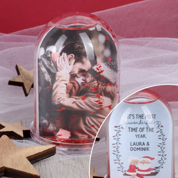 Ausgefallenromantisches - Romantische Schneekugel zu Weihnachten mit Foto und Namen - Onlineshop Geschenke online.de
