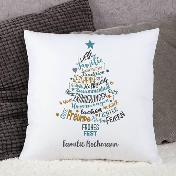 weihnachtsbaum kissen f r die familie mit wunschtext bedruckt. Black Bedroom Furniture Sets. Home Design Ideas
