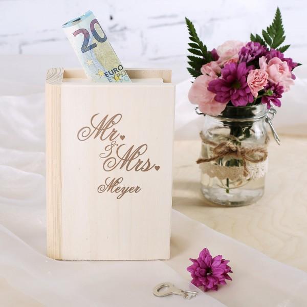 Holzspardose zur Hochzeit in Buchform