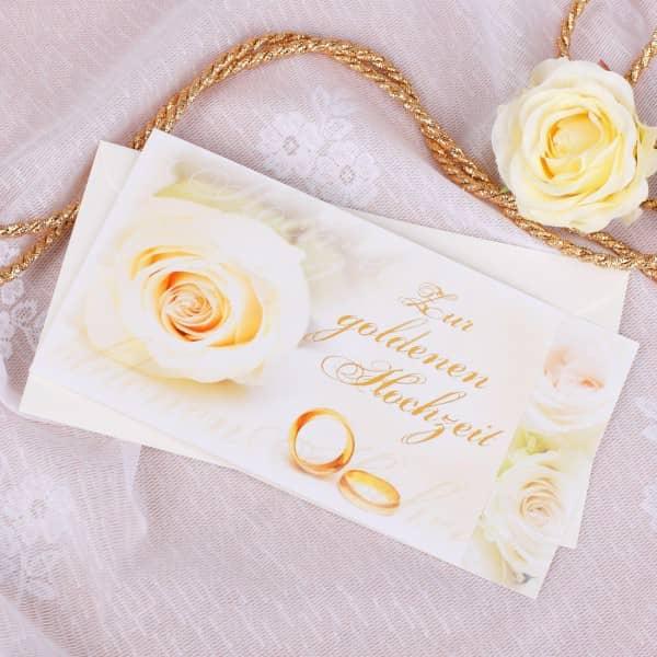 Karte zur Goldenen Hochzeit mir Rosen und Ringen