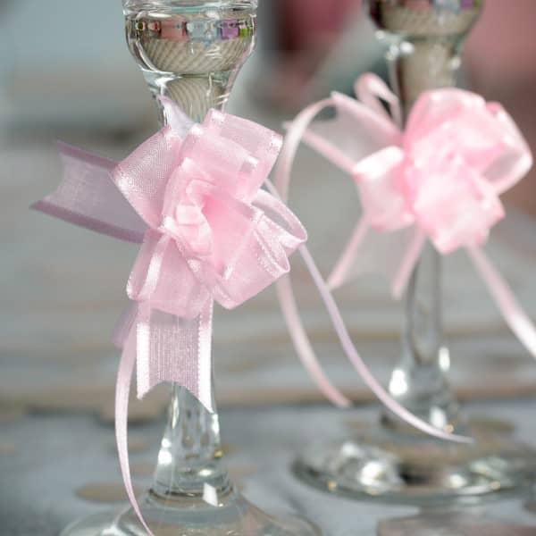 5 Mini Organzaschleifen in rosa