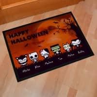 Halloween Fußmatte mit gruseligen Figuren und Ihren Wunschnamen