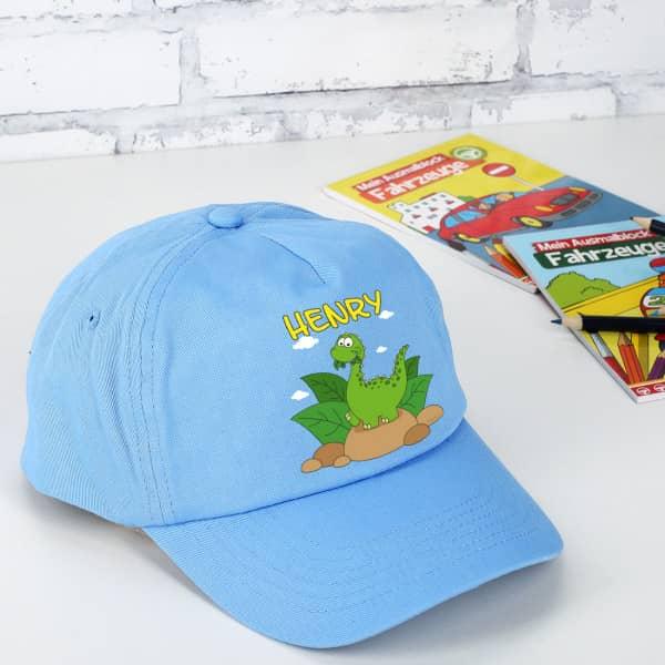 Individuellbekleidung - Basecap mit Dinomotiv und Wunschname - Onlineshop Geschenke online.de