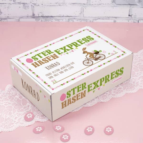 Geschenkverpackung vom Osterhasen Express mit Ihrem Namen und Wunschtext