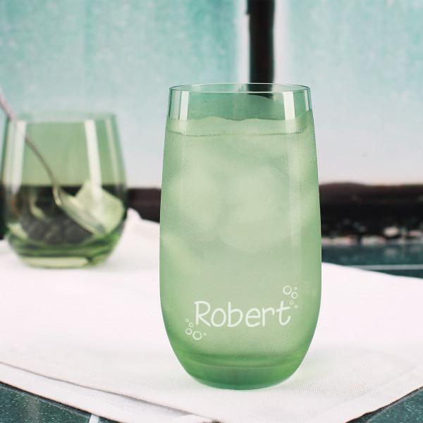 Trinkglas in grün mit Wunschname
