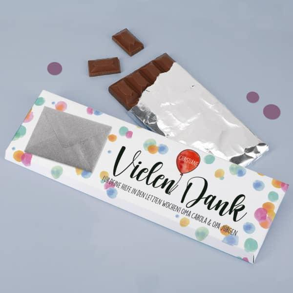 Danke-Schokolade mit Name und persönlichem Text
