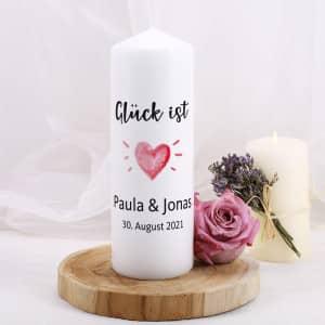Personalisierte Kerze zum Valentinstag