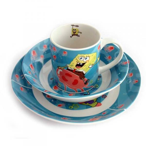 Kinderservice Spongebob mit Tasse,Teller und  Müslischale