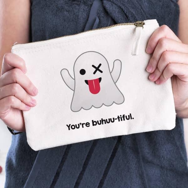 persönliche Kosmetiktasche mit Emoticon Gespenst und Ihrem Wunschtext