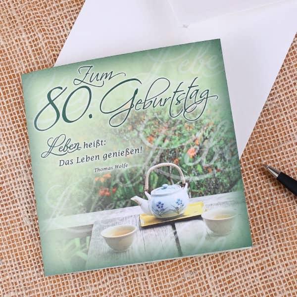 quadratische Glückwunschkarte zum 80. Geburtstag