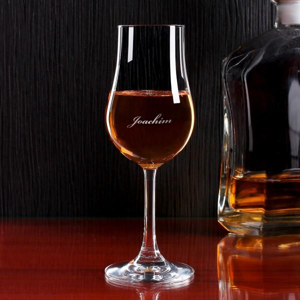 Individuelles Whiskyglas mit Stiel und Wunschnamen