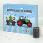 Adventskalender zum selbst Befüllen mit grünem Traktor und Wunschtext