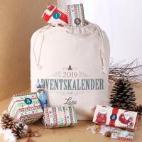 DIY Adventskalender - personalisierter Baumwollsack mit Aufklebern