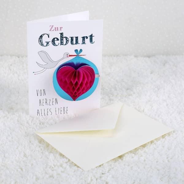 Pom Pom Glückwunschkarte Zur Geburt alles Liebe