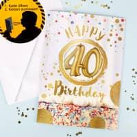DIN A4 Pustekarte mit Sound-Effekt zum 40. Geburtstag