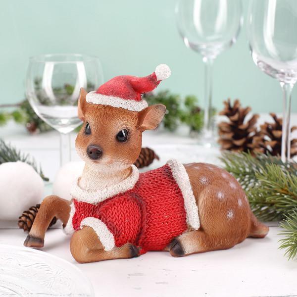 Reh im weihnachts outfit sitzend 20 cm for Weihnachtsreh beleuchtet