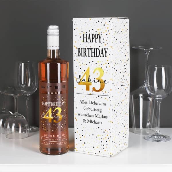 Persönlicher Wein zum Geburtstag mit passender Geschenkverpackung