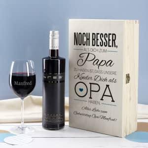 Geschenkset mit Wein für Opa