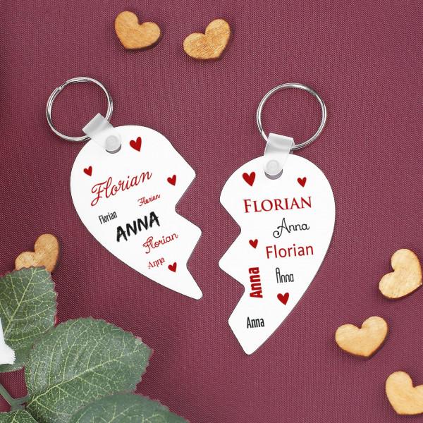 Individuellbesonders - Schlüsselanhänger Set zum Valentinstag mit Namensaufdruck - Onlineshop Geschenke online.de