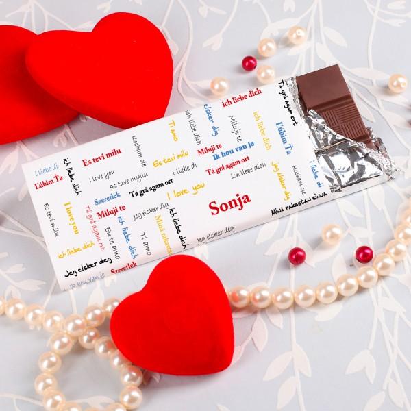 100g Schokolade mit Namen ICH LIEBE DICH