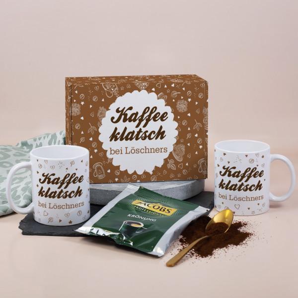 Kaffeeklatsch Geschenkset mit zwei Tassen, Kaffee und Geschenkbox mit Wunschtext