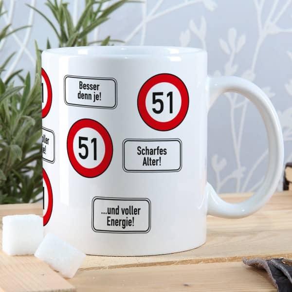 tasse mit verkehrszeichen und lustigen spr chen zum 51 geburtstag. Black Bedroom Furniture Sets. Home Design Ideas