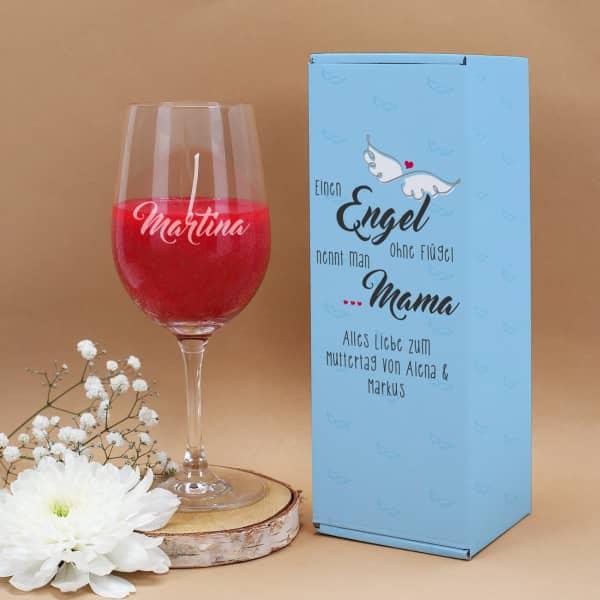 Engel ohne Flügel nennt man Mama - Duftkerze im Weinglas mit Geschenkverpackung