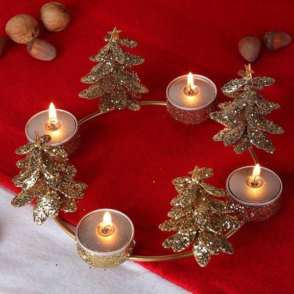metall teelichthalter tannenbaum gold geschenke. Black Bedroom Furniture Sets. Home Design Ideas