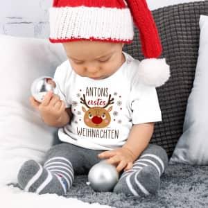 Baby T-Shirt Weihnachten mit Name