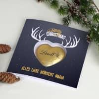 Karte Merry Christmas mit Lindt Schokoherz