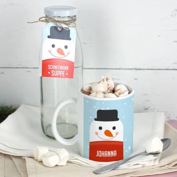 Geschenkset Schneemann Suppe mit Tasse und Glasflasche
