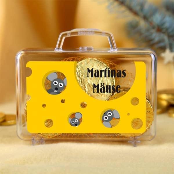 Kleiner Geldkoffer Mäuse mit Namensaufdruck
