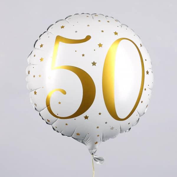Folienballon zum 50. Geburtstag in weiß