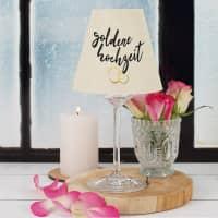 Weinglas mit Lampenschirm - goldene Hochzeit - mit Namen