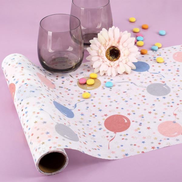 Bunter Tischläufer mit Luftballon, Sternen und Konfetti