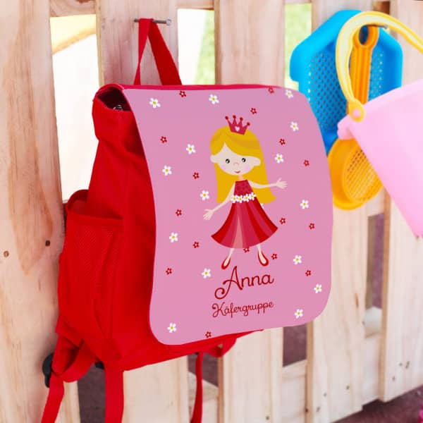 roter rucksack f r kinder mit s er prinzessin name des kindes und zusatztext. Black Bedroom Furniture Sets. Home Design Ideas