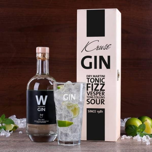 Gin Geschenkset mit Glas, Holzbox und Gin
