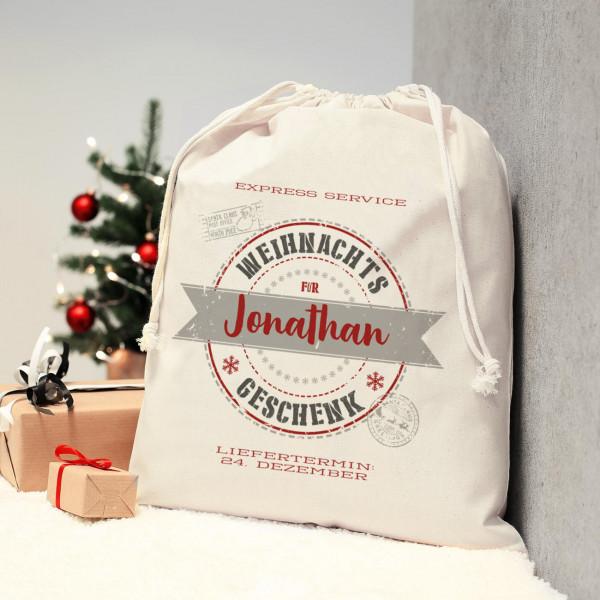 Weihnachtsgeschenke Sack.Geschenksack Vom Weihnachts Express Mit Ihrem Namen Bedruckt 40 X 50 Cm