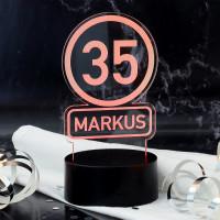 Acryllampe mit Verkehrszeichen, Name und Alter