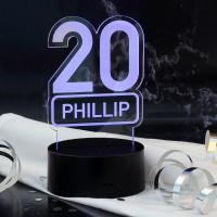 Acryllampe zum 20. Geburtstag mit Name
