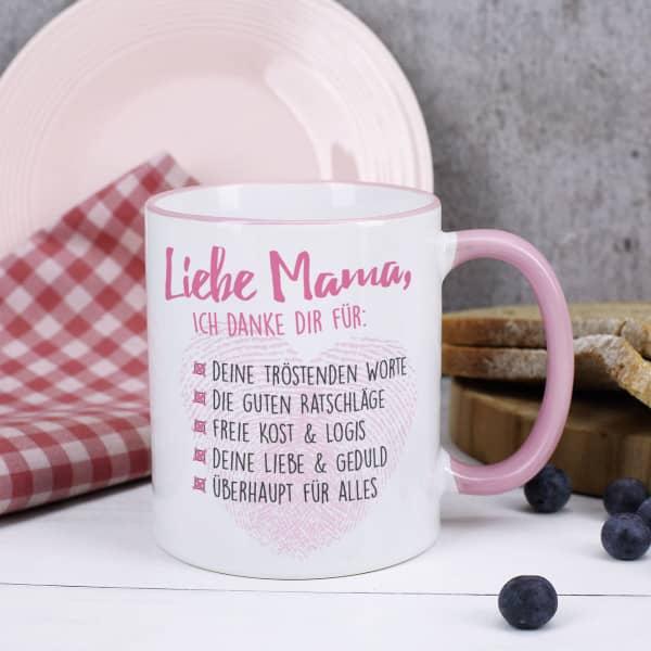 Tasse mit rosa Rand und Henkel, Danke Mama Motiv und Wunschtext bedruckt