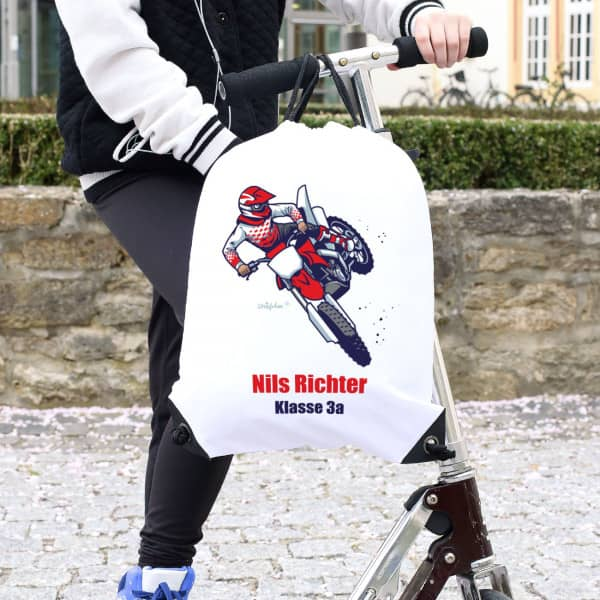 Sportbeutel mit Motorrad, Wunschname und Wunschtext bedruckt