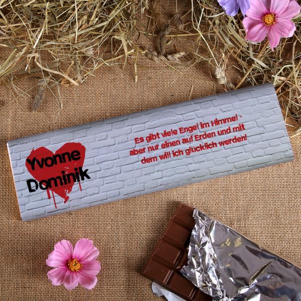 Schokolade mit Grafiti Herz