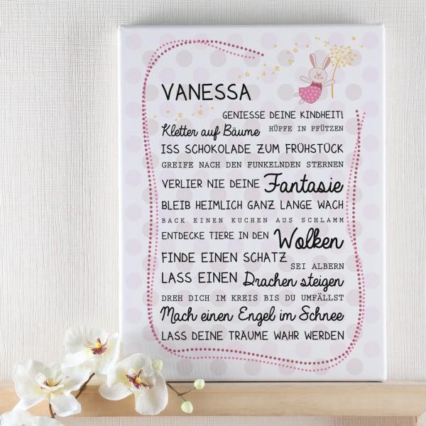 Leinwand für Mädchen bedruckt mit Name und Spruch
