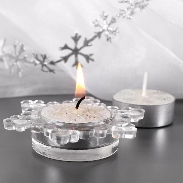 Kerzenset mit Halter - Schneekristall