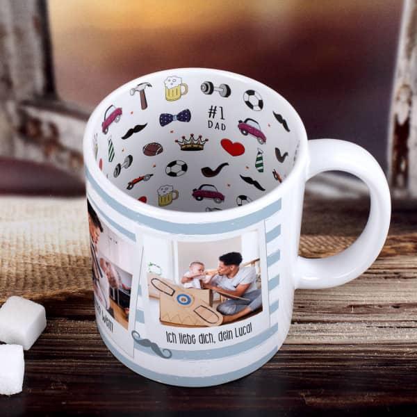 Innen und außen bedruckte Polaroid Tasse für den besten Papa