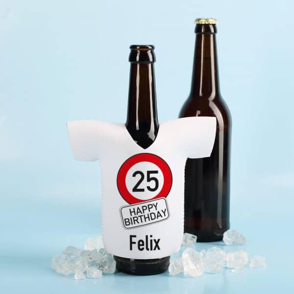 Neopren Flaschenkühler zum Geburtstag mit Verkehrszeichen