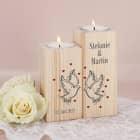 2er Set Teelichthalter aus Holz mit Tauben, Namen und Datum