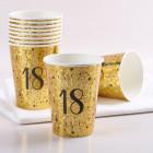 10 Goldene Pappbecher zum 18. Geburtstag